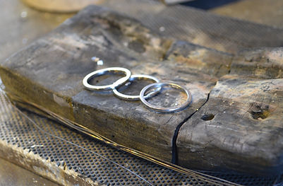 Palladium stacking rings in the making at HR Jewellery Designs Hampshire area