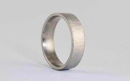 Mens Linear Rustic Bark finish 5mm Palladium handmade wedding ring by HR Jewellery Designs West Sussex/ Hampshire