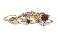Inherited Rings ready for melting and remodeling by HR Jewellery Designs West Sussex / Hampshire