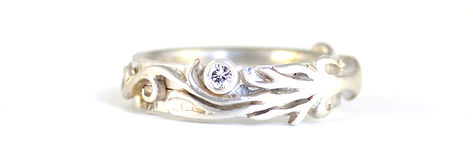 Handmade 'Tree of Life' Engagement Ring and  Wedding Band Commission. Custom made in Platinum by HR Jewellery Design in West Sussex / Hampshire