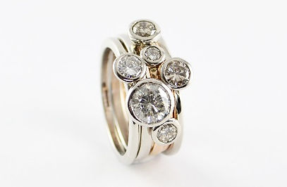 unworn jewellery remade into multi stacking ring set. HR Jewellery Designs West Sussex