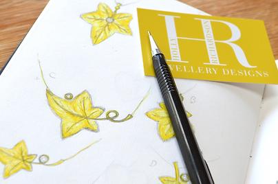 Ivy leaf drawings in jewellery remodel | HR Jewellery Designs