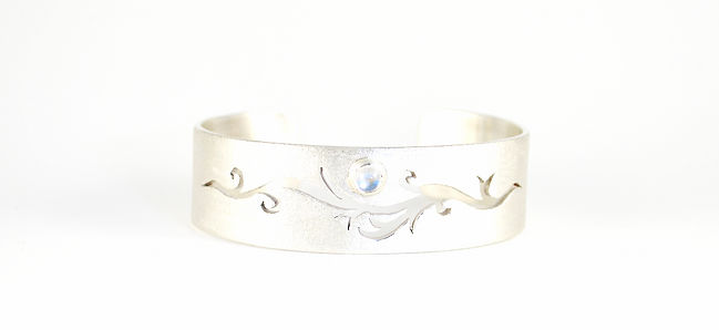 Tree of Life Moonstone Bangle Commission , Handmade in west sussex by HR Jewellery Designs