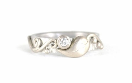 Silver and 18ct White Gold Leaf and Vine engagement ring, handmade wedding rings and engagement rings in west sussex, handmade engagement rings in hampshire