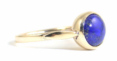 Large Cabochon cut Lapis Lazuli Ring set in 9ct Yellow Gold by HR Jewellery Designs | Jewellery Commission