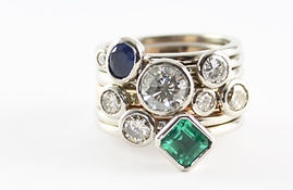 Unworn jewellery remade into stacking rings HR Jewellery Designs Hampshire