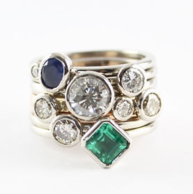 Diamond stacking ring set handmade by HR Jewellery Designs Hampshire. jewellery redesign and jewellery remodelling