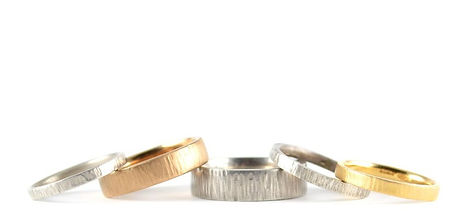 Handmade Organic Textured Linear Wedding Rings by HR Jewellery Designs West Sussex, Hampshire