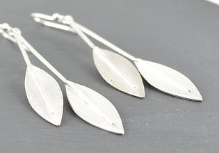 Solid Silver Double leaf Long Drop Earrings Designed by HR Jewellery Designs UK Jewellery Designer