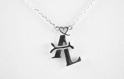Sterling silver initals pendant designed and made by HR Jewellery Designs West Sussex