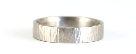 Palladium Organic Textured Linear Wedding Ring Handmade by HR Jewellery Designs of West Sussex / Hampshire
