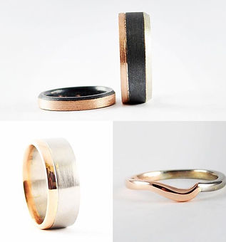 Two colour hand made wedding bands by HR