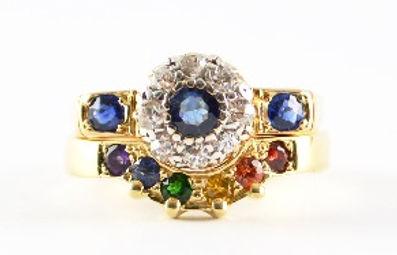 Handmade rainbow stone wedding ring by Jewellery designer HR Jewellery Designs