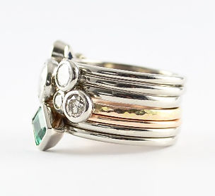 Remodelled jewellery into stacking ring set, HR Jewellery Designs Hampshire, West Sussex