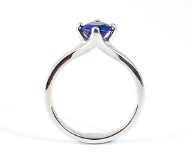 Bespoke handmade White Gold and sapphire Engagement Ring Commission by HR Jewellery Designs, West Sussex, Hampshire