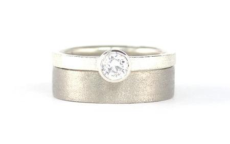 18ct White Gold diamond Engagement ring and wide Palladium wedding ring | HR Jewellery Designs Wedding Ring Designs