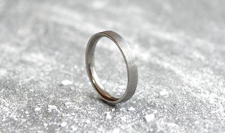 ladies 9ct black rhodium Gold flat court 3mm grain texture Wedding Band | HR Jewellery Designs West Sussex / Hampshire