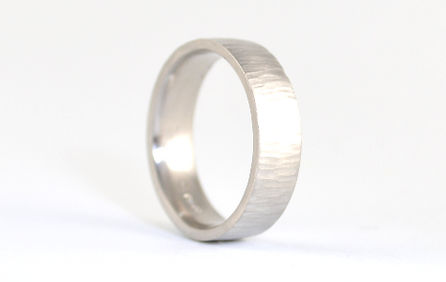 Gents Linear Hammered Bark finish 6mm silver handmade wedding band by HR Jewellery Designs West Sussex/ Hampshire