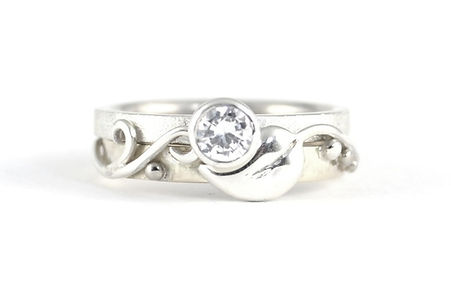 Platinum and 18ct White Gold Leaf and Vine Design Diamond engagement ring, handmade wedding rings and engagement rings in west sussex, handmade engagement rings in hampshire