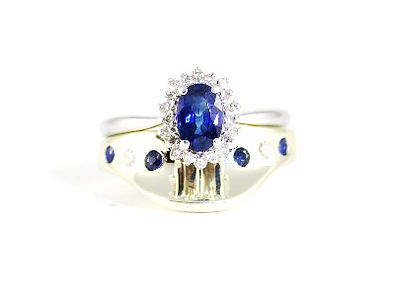 Bespoke Shaped Wedding Ring set with Sapphire and Diamond by HR Jewellery Designs