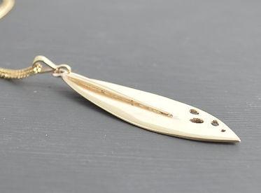 Olea leaf 9ct yellow gold pendant handmade by HR Jewellery Designs