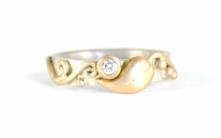 Silver and 9ct Yellow Gold Leaf and Vine Design engagement ring, handmade wedding rings and engagement rings in west sussex, handmade engagement rings in hampshire