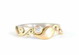 Organic Silver and Yellow Gold Leaf and Vine Diamond Ring Handmade by HR Jewellery Designs in West Sussex / Hampshire