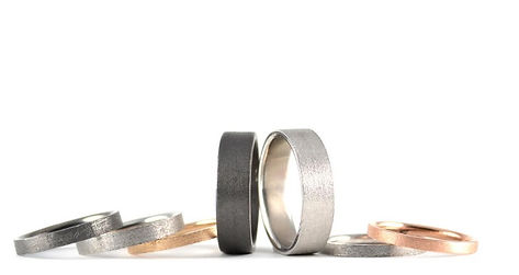 Handmade Stardust Textured Finish Wedding Rings by HR Jewellery Designs West Sussex, Hampshire