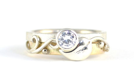 18ct White and Yellow Gold Leaf and Vine Design Diamond engagement ring, handmade wedding rings and engagement rings in west sussex, handmade engagement rings in hampshire