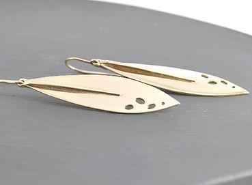HR Jewellery Designs show stopping 9ct Gold leaf drop earrings | Handmade drop earrings