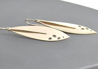 Solid 9ct Yellow Gold Show Stopping Leaf Drop Earrings Designed by HR Jewellery Designs UK Jewellery Designer