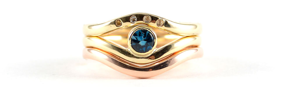 9ct gold stone set triple stacking ring West Sussex Jeweller