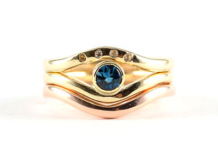 Handmade wishbone shaped multi band gold ring HR Jewellery Designs West Sussex