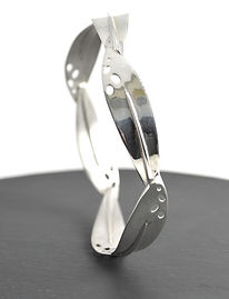 Full leaf bangle handmade in silver by HR Jewellery Designs based in Hampshire