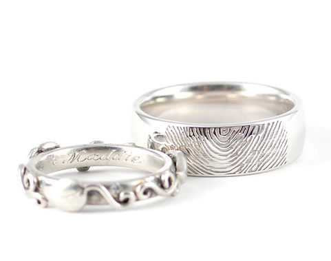 Bespoke Hand Engraved and Personnalised Fingerprint Wedding Rings by HR Jewellery Designs, West Sussex / Hampshire