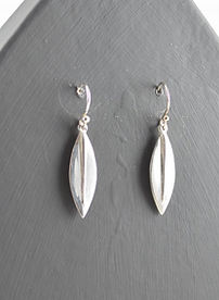 Sterling silver little dangly leaf earrings made by HR Jewellery Designs | West Sussex