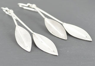 Solid Silver Double leaf Long Drop Earrings Designed by HR Jewellery Designs UK Jewellery Designer
