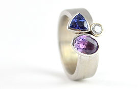 Remodelled Amythest, Tanzanite and diamond white gold ring by HR Jewellery Designs in Hampshire