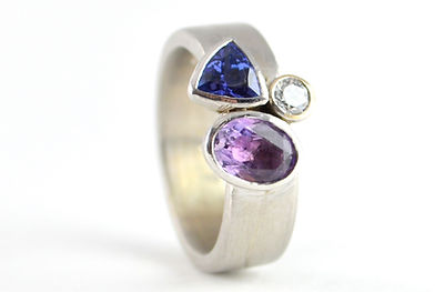 Bespoke Amethyst, Tanzanite and diamond remodelled white gold ring by HR Jewellery Designs, Hampshire