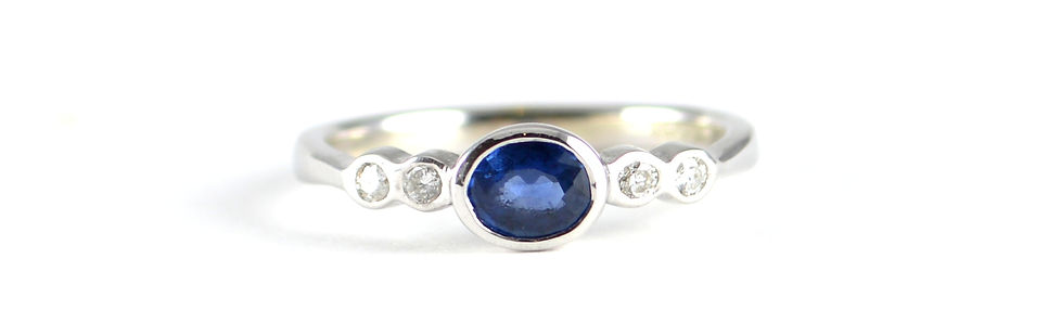 Handmade 5 stone Sapphire and Diamond Ring Commission in White Gold by HR Jewellery Designs, Petersfield, Hampshire