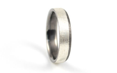 HR Jewellery Designs Chamfered Edge 9ct White Gold 6mm two tone Blaze Gents Wedding Ring | West Sussex / Hampshire