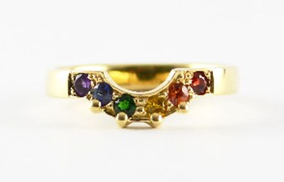 Bespoke handmade rainbow stone shaped wedding ring by HR Jewellery Designs West Sussex