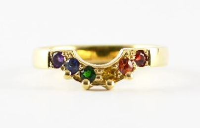Bespoke handmade rainbow stone shaped wedding ring by HR Jewellery Designs West Sussex