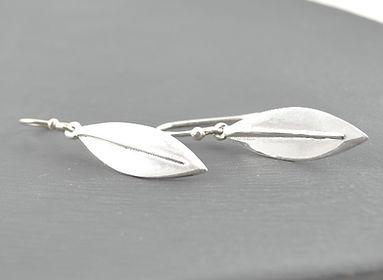 Olea leaf Sensation drop small earrings handmade in Silver by HR Jewellery Designs