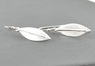 Solid Silver Sensation Olea olive Leaf Short Drop Earrings Designed by HR Jewellery Designs UK Jewellery Designer