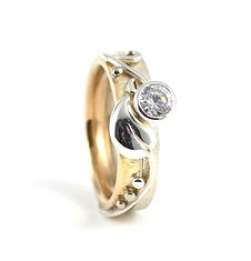 Leaf and Vine Diamond Engagement Ring and Wedding Band Handmade by HR Jewellery Designs Fontwell, West Sussex