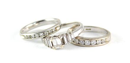 Three diamond rings before Remodeling | HR Jewellery Designs | jeweller in Hampshire