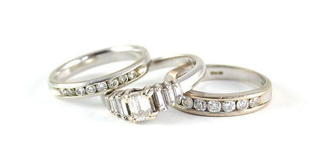 Three diamond rings before Remodeling | HR Jewellery Designs | jeweller in Hampshire