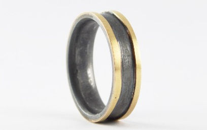 Gold edged mens wedding ring with oxidised silver | HR Jewellery Designs West Sussex