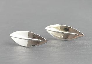 Solid Silver Sensation Curved Leaf Stud Earrings Designed by HR Jewellery Designs UK Jewellery Designer